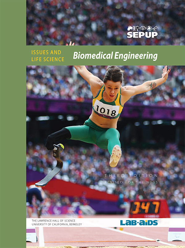 Image of Biomedical Engineering Student Book Cover that has a woman with a bionic leg jumping in an athletic event.