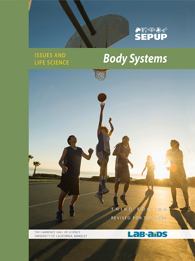 Image of Body Systems Student Book Cover that has people playing basketball as the sun sets.